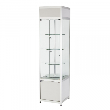 RS52 rotating tallboy glass display case hire