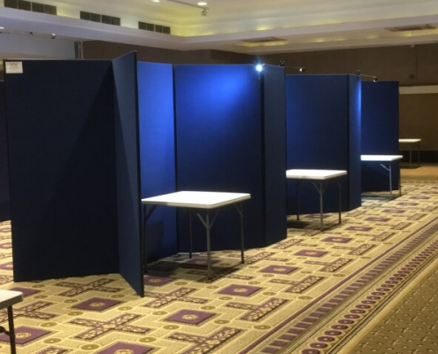 Booth hire navy blue display board booths