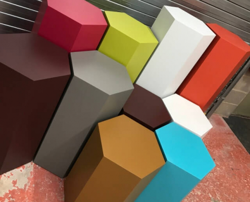 Hexagonal plinth hire colours