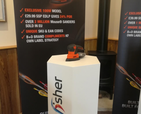 Hexagonal plinth hire with graphics - Kingfisher 2