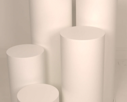 Round plinths for hire