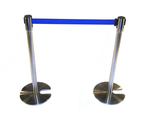 Barrier post with webbing hire