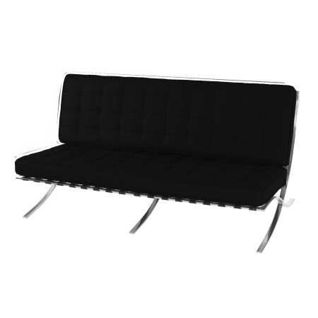 DE100 Barcelona 2 seater sofa hire - Black