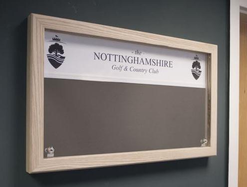 Custom lockable noticeboard for golf club