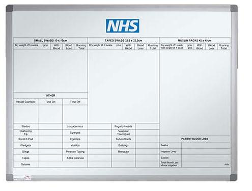 Custom whiteboard for NHS hospital