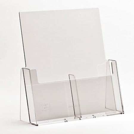 2x 1/3 A4 Side by Side Clear Leaflet Holder